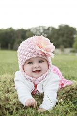 Pale Pink Pretty Pixie Hat with Pale Pink Large Rose