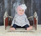 Pale Pink Pretty Pixie Hat with White Large Peony