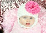 White Pretty Pixie Hat with Candy Pink Lace Rose