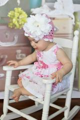 Pale Pink Scalloped Crochet Hat with White Large Peony