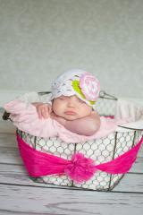 Pink White Rose on White Scalloped Crochet Hat