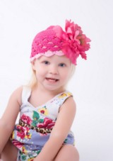 Raspberry Scalloped Crochet Hat with Raspberry Large Peony