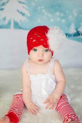 Red Scalloped Crochet Hat with White Large Curly Marabou