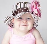 Brown Pink Dot Multistripe Sun Hat with Pale Pink Large Peony