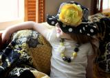 Black White Dot Sun Hat with Yellow Large Rose