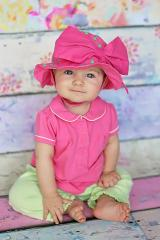 Candy Pink Aloe Dot Sun Hat with Candy Pink Bow-Rae-Mi