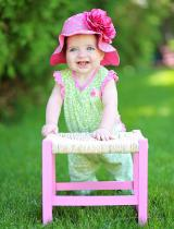 Candy Pink Aloe Dot Sun Hat with Raspberry Large Rose