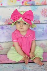 Light Aloe Sun Hat with Candy Pink Bow-Rae-Mi