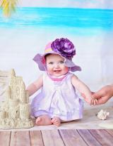 Lavender Gingham Sun Hat with Purple Large Rose