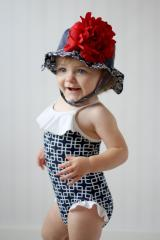 Navy Blue Sun Hat with Red Large Peony