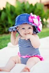 Navy Blue Sun Hat with White Raspberry Large Peony