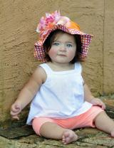 Orange Sun Hat with Pink Orange Large Peony