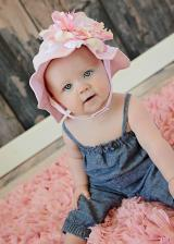 Pale Pink Sun Hat with Pink White Large Peony