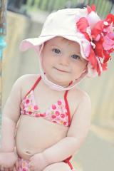 Pale Pink Sun Hat with Red Pink Large Peony