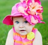 Raspberry Sun Hat with Orange Raspberry Large Peony