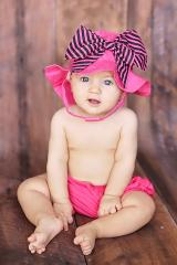 Raspberry Sun Hat with Pink Black Bow-Rae-Mi