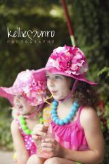 Raspberry Sun Hat with Pink Raspberry Large Peony