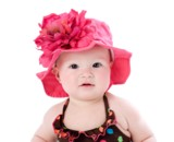 Raspberry Sun Hat with Raspberry Large Peony