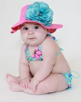 Raspberry Sun Hat with Teal Large Rose