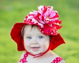 Red Dot Sun Hat with Red Pink Large Peony