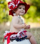 Red Dot Sun Hat with Red White Large Peony