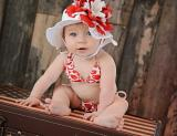 White Sun Hat with Red White Large Peony