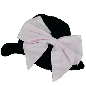 Black Stella Sun Hat with Bow-Rae-Mi Appliqué