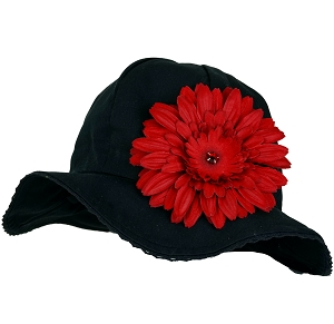 Black Stella Sun Hat with Daisy