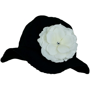 Black Stella Sun Hat with Rose