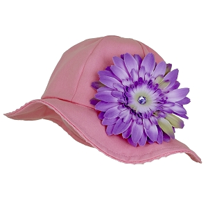 Candy Pink Stella Sun Hat with Daisy