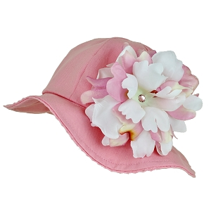 Candy Pink Stella Sun Hat with Peony