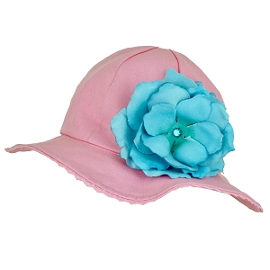 Candy Pink Stella Sun Hat with Rose