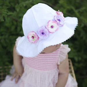 White Stella Sun Hat with Mini Rose Crown
