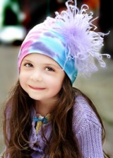 Blue Pink Purple Tie Dye Hat with Lavender Large Curly Marabou