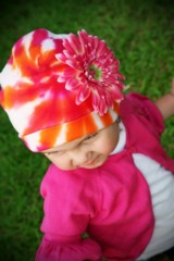 Orange Pink Tie Dye Hat with Candy Pink Daisy