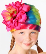 Rainbow Tie Dye Hat with Raspberry Large Peony