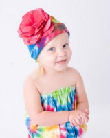Rainbow Tie Dye Hat with Raspberry Large Rose