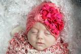 Candy Pink Tiny Turban with Raspberry Small Geraniums