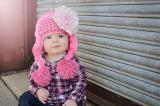 Candy Pink Winter Wimple Hat with Pale Pink Lace Rose