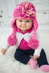 Candy Pink Winter Wimple Hat with Pink Raspberry Small Peony