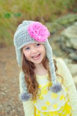 Gray Winter Wimple Hat with Candy Pink Lace Rose