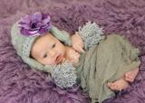 Gray Winter Wimple Hat with Purple Small Rose