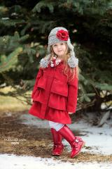 Gray Winter Wimple Hat with Red Small Rose