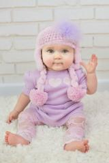 Pale Pink Winter Wimple Hat with Lavender Regular Marabou
