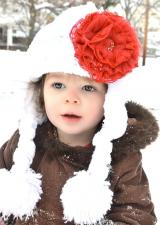 White Winter Wimple Hat with Red Lace Rose