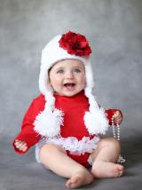 White Winter Wimple Hat with Red Small Rose