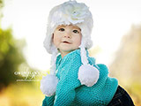 White Winter Wimple Hat with White Small Rose