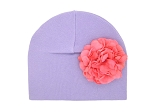 Lavender cotton hat with candy pink geraniums