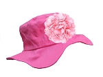 Raspberry Sun Hat with Pink Large Geraniums