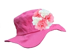 Raspberry Sun Hat with Pink & White Large Geraniums